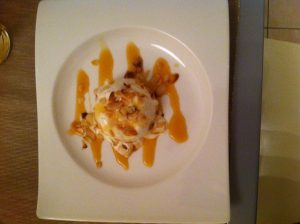Flor de Sel and Honey Ice Cream with Caramel and Almonds